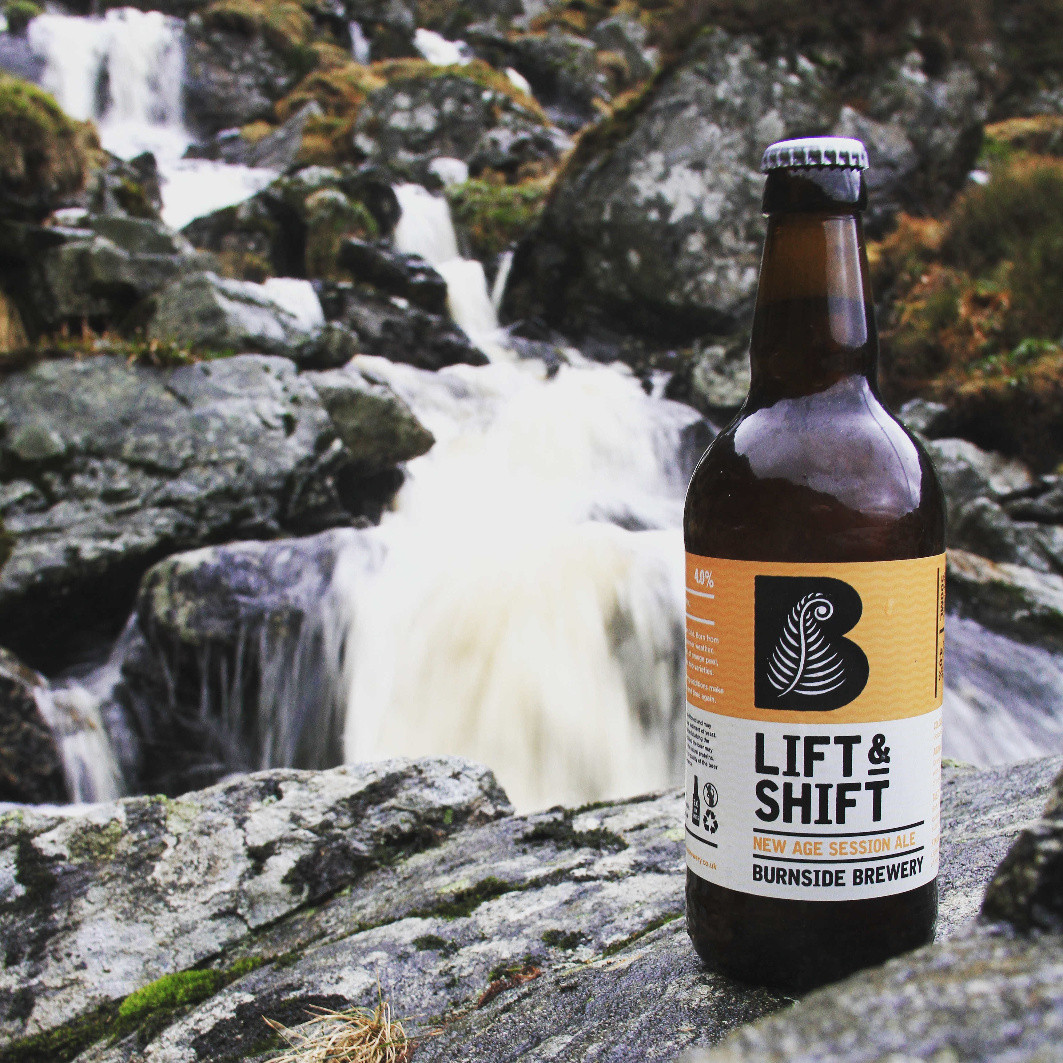 The craft beer, Lift & Shift, out in the Scottish wilderness